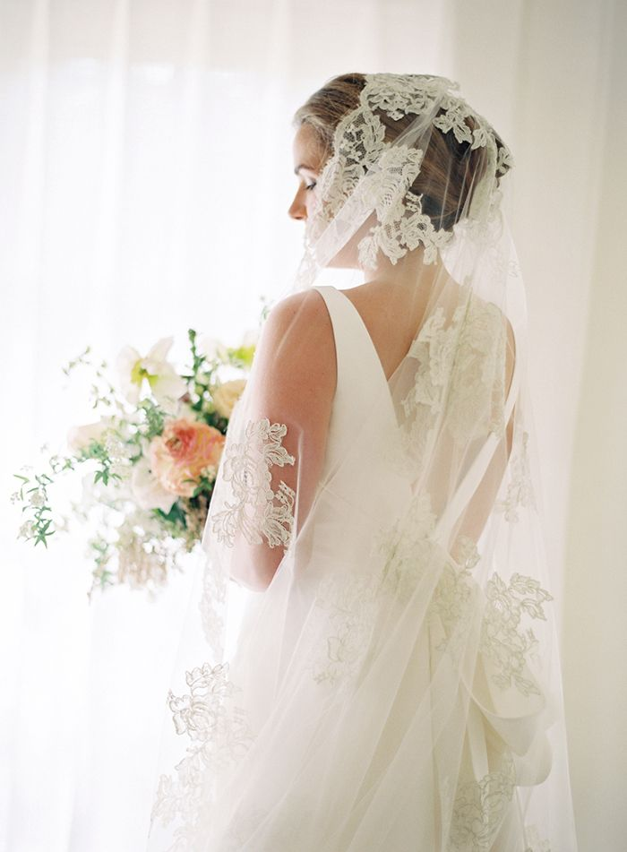 Classic Fine Art Bride with a Lace Veil