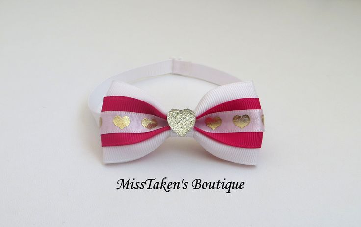 "White+&+Pink+Heart+Pet+Bow+Tie  Adjustable+Neck+Size:+7.5-13""+(19-33cm)+ Bow:+7cm+x+4cm+ Collar:+1cm+Grosgrain+Ribbon+ Plastic+Hook+&+Clip+Closure  Condition:+Brand+New,+Handmade,+Lightweight+&+Comfortable  ✿+Collars+are+for+fashion+purposes+only.+Please+always+supervise+your+fur+baby+wh..."