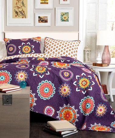 Look at this #zulilyfind! Purple Floral Reversible Quilt Set #zulilyfinds
