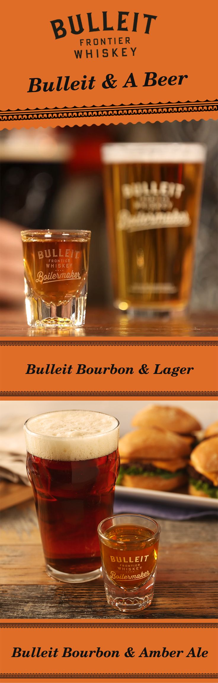 No matter if you're at home, the bar, or a football stadium—it takes two teams to play the game. So, make your drink Bulleit and a beer. The recipe is as simple as pairing a beer and a shot. Simply pour 1.3 oz Bulleit Bourbon and pair it with your favorite 12 oz beer—including a lager or amber ale. To best experience this two-drink serve, alternate between sipping Bulleit and slowly drinking your beer to discover unique flavor profiles.