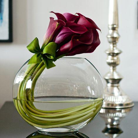 Vaso oval com Callas | Vaso ideal para uma mesa de centro ou agradecimento em jantares.: