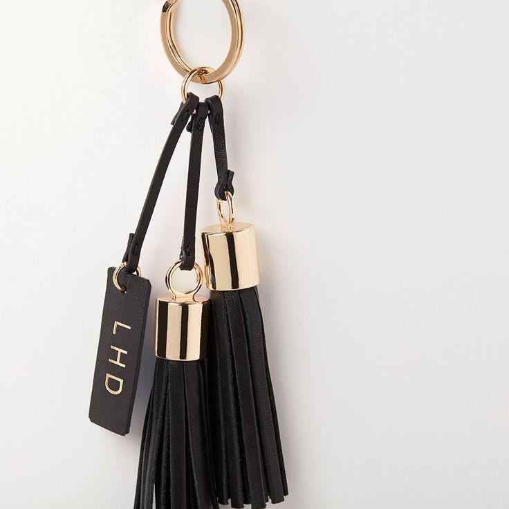 Leather Tassel Keychain Black