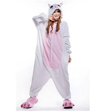 Kigurumi Pijamas New Cosplay® / Gato Malha Collant/Pijama Macacão Festival/Celebração Pijamas Animal Branco Miscelânea Lã Polar Kigurumi de 1410833 2016 por R$82,10