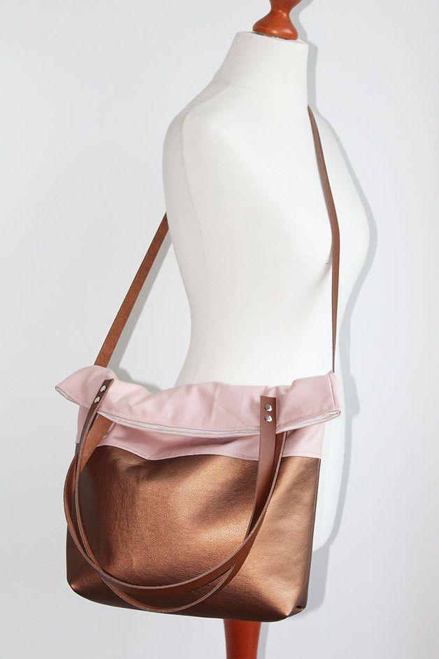 Canvas Tasche, Shopper in Kupfer und Rosé / canvas bag, copper and rose, casual outfit, shopper bag made by duftesachen-berlin via DaWanda.com