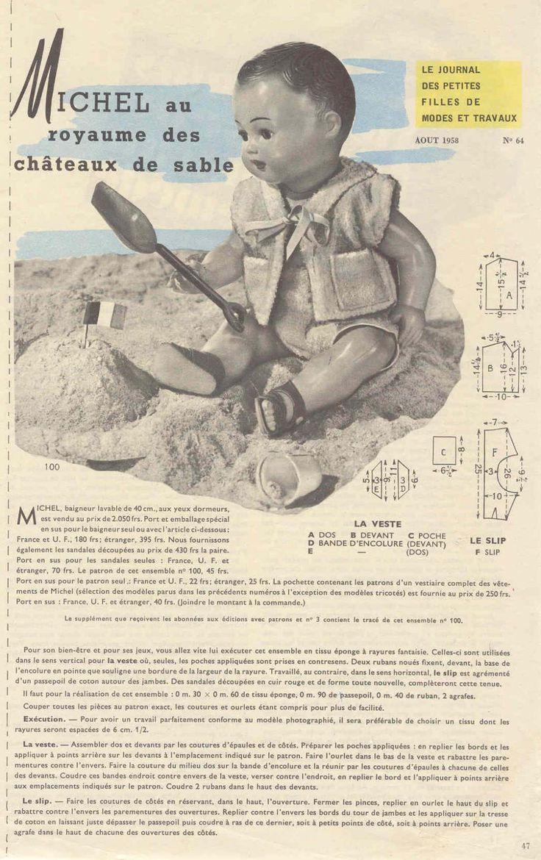 PAR AMOUR DES POUPEES :: M&T 1958-08 Michel au royaume des châteaux de sable (couture)