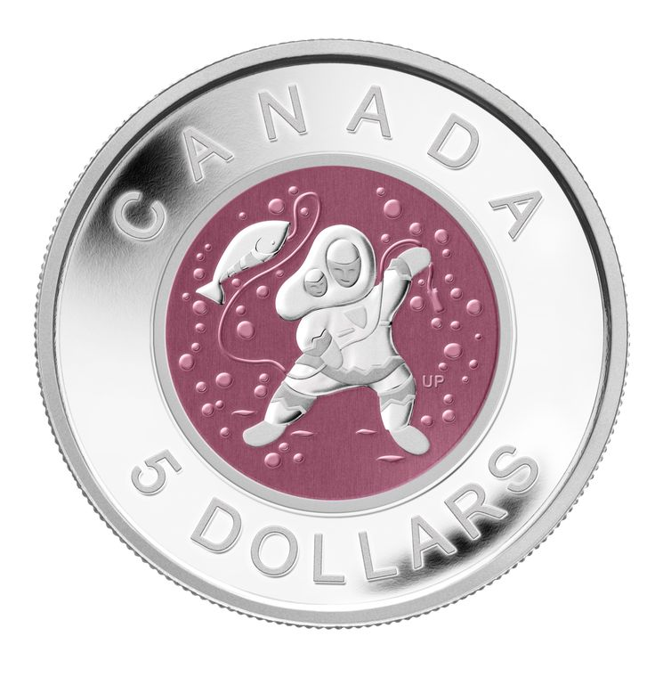 2013 Fine Silver Coin - Mother and Baby Ice Fishing Design is by Inuit artist Ulaayu Pilurtuut and shows a joyous mother celebrating her latest catch with her baby in her amautik.  Distinct and innovative minting process: the niobium insert is struck into the core of your fine silver coin and then selectively coloured through a unique oxidization process. After oxidation, the niobium diffuses light to create brilliant colours.