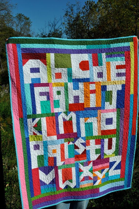 Colorful Abstract Alphabet Quilt to display or by colorwisequilts, $200.00