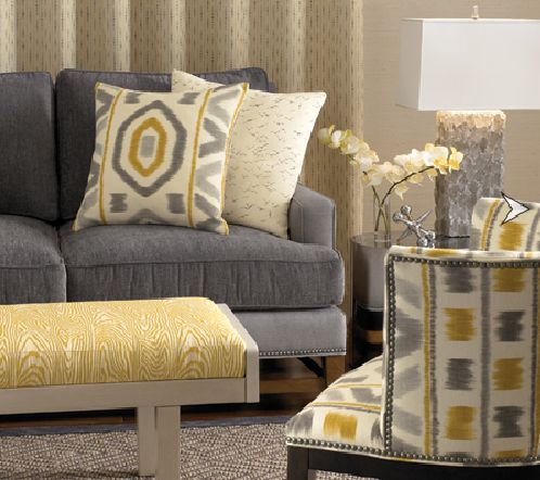 Marvelous Grey Color Scheme Interior Design Idea For Living Room With Gray Sofa Cream Cushion Motive White Orchid Yellow Pouffe