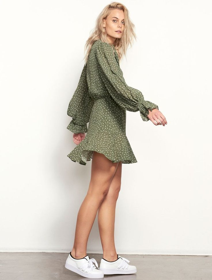 ISLA  - Easy Rebellion Mini Dress - Olive Ditzy Print