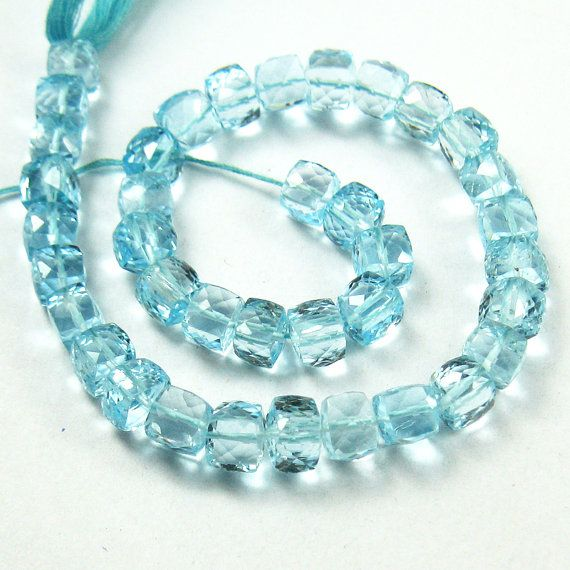 Blue Topaz faceted cube box beads by jewelsexports, $125.11