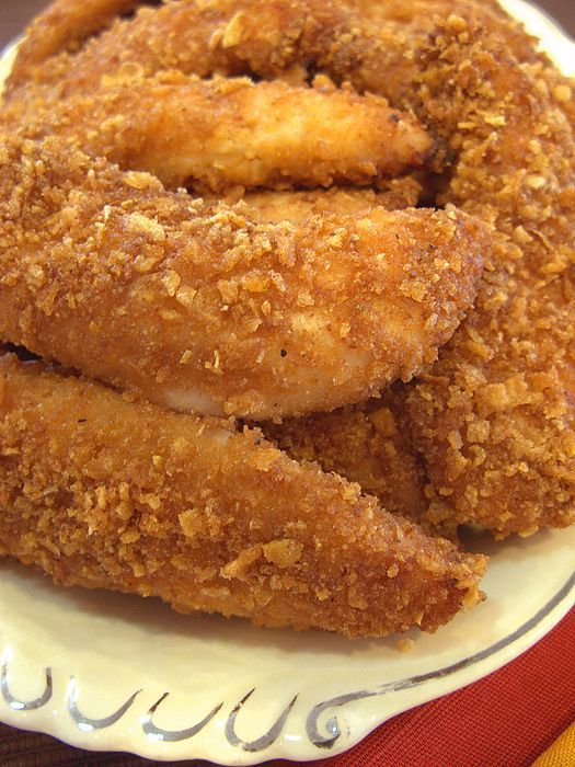 Crispy Parmesan Cornflake Chicken Strips:  Easy to make and soooo delicious!