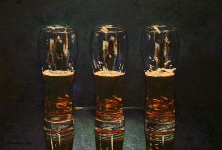 To halvfulle glass og et halvtomt. Two half full glasses and one half empty. Oil on board. www.ithammar.com