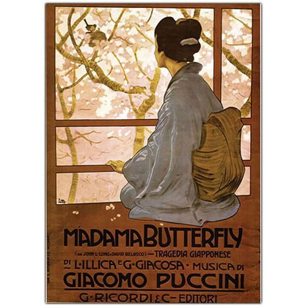 Giacamo Puccini - Madam Butterfly-Framed 34x47 Canvas Art