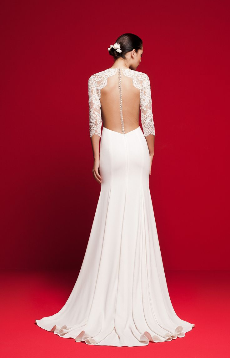 LVS 330 Mermaid wedding dress with 3/4 sleeve lace top and illusion back with pearl buttons