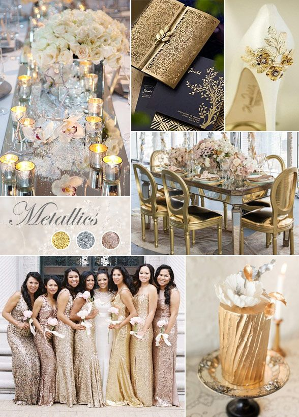 No matter the season or the time of day, you'll love the shine that touches of gold and silver bring to your big day. #WeddingColor