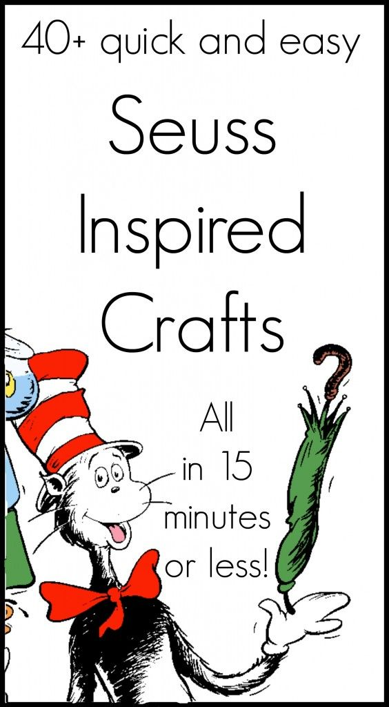 Amazing Dr. Seuss crafts that all take 15 minute or less to complete. Enjoy these quick and easy crafts with your kids or classroom.