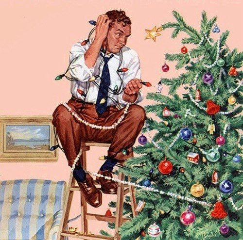 Christmas-Norman Rockwell painting~ I would love if my future husband looked like this on Christmas Eve;P