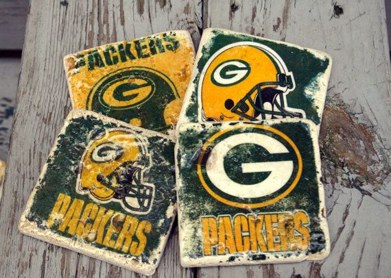 Green Bay Packers Drink Coasters/ Go by KandBCreativeDesigns