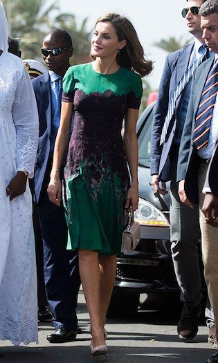Queen Letizia of Spain wore a green and purple dress by Carolina Herrera to meet First Lady of Senegal Marieme Faye Sall on December 12 in Dakar. The Spanish royal was on a four-day visit to the country.   Photo: Xaume Olleros/Getty Images