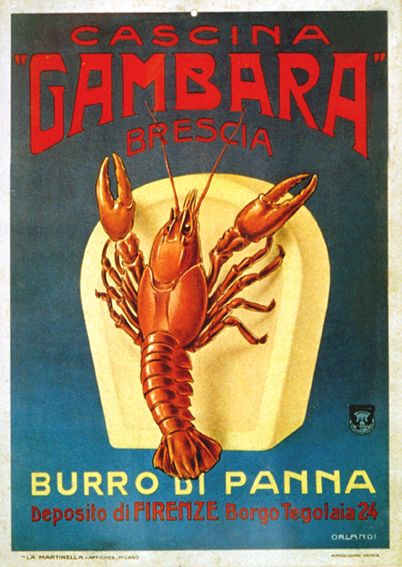 Advertising for butter Gambara Burro Gambara (1924) Illustration by: Fabio Orlandi  Stabilimento Grafico: La Martinella Affiches -Milano Locazione Cartello: Collezione Salce Museo Bailo Treviso