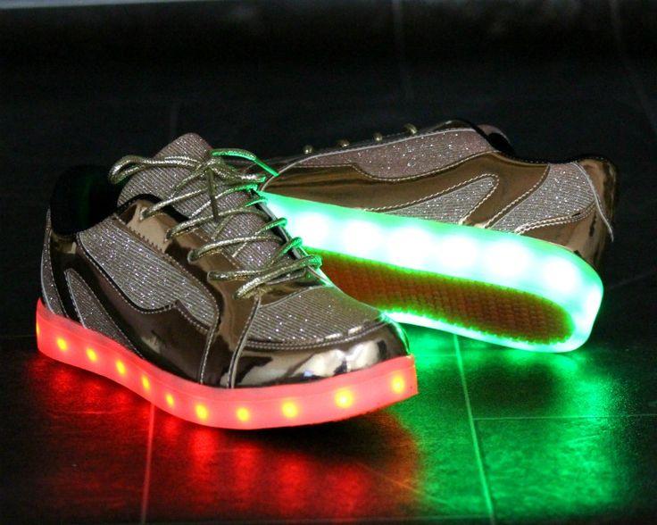 Pantofi Sport Dama Auriu cu LED-uri Cod: 381p