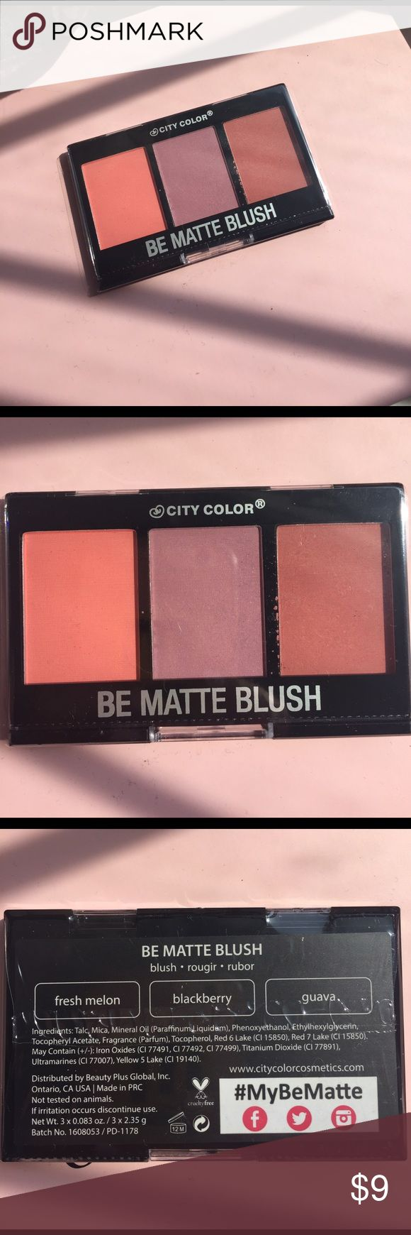 Summer Clearout🏖 Be Matte Blush Palette Unopened and never used blush palette with three shades as pictured. City Color Makeup Blush