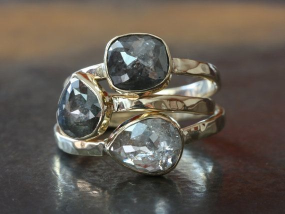 One of a Kind Grey Pear Rose Cut Diamond RIng in 14kt Yellow Gold