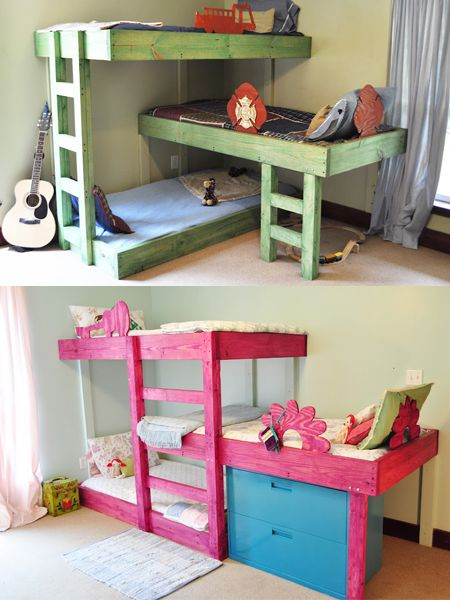 These pine bunk beds are an absolutely wonderful way to add three beds into one small space. Looking at the design, it will only cost you around R800 if you buy your PAR pine direct from a timber merchant, and you can download the plans here for $1.99 - and that's a bargain! - See more at: http://www.home-dzine.co.za/bedroom/bedroom-beds-small-spaces.htm#sthash.zXIDcDs7.dpuf