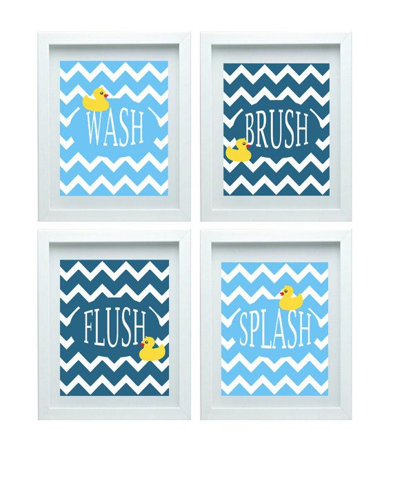 Chevron Bathroom Wall Art Bathroom Rules Kids by FMDesignStudio, $47.00