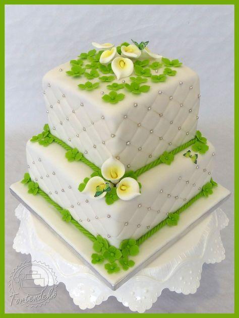 Hochzeitstorte Callas Schmetterlinge grün