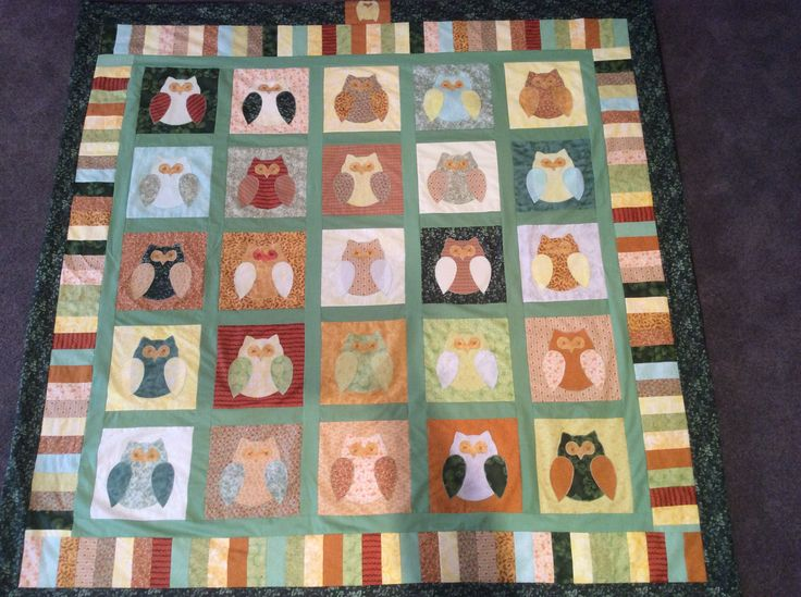 Queen size owl quilt for Kate