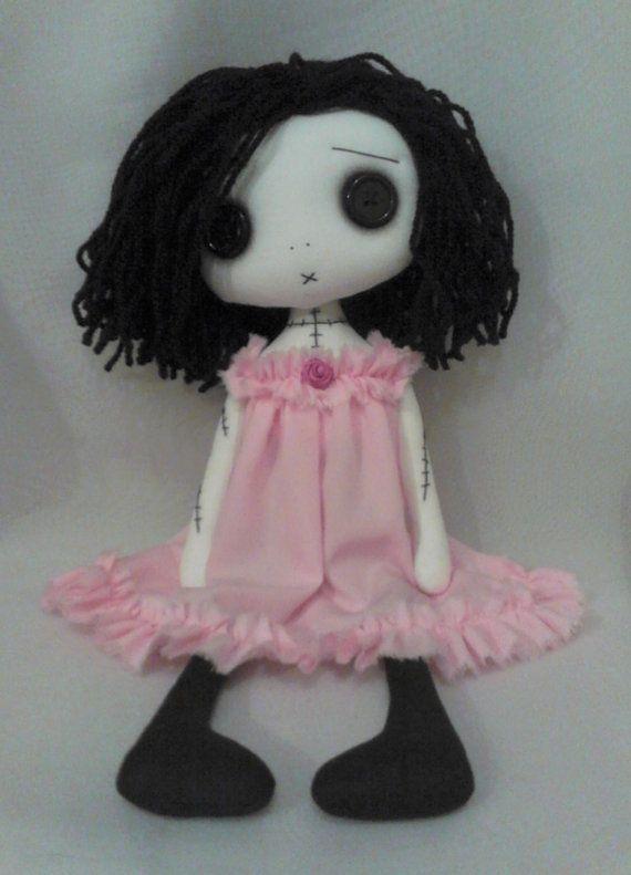 Gothic Art Rag Doll  Katy The Lonely Valentine by ChamberOfDolls