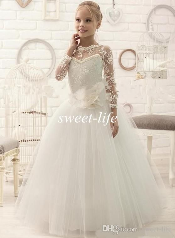 2016 Ivory Lace Long Sleeve Ball Gown Flower Girl Dresses Tutu Handmade Flower Dress for Wedding Party Birthday Baby Kid Girls Pageant Dress Online with $69.67/Piece on Sweet-life's Store | DHgate.com