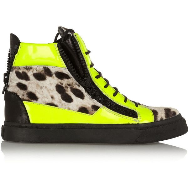 Giuseppe Zanotti Neon patent-leather and leopard-print calf hair... (£415) ❤ liked on Polyvore featuring shoes, sneakers, yellow, round toe sneakers, neon sneakers, leopard print sneakers, leopard sneakers and neon shoes
