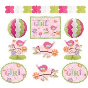 Tweet Baby Girl Shower Room Decorating Kit by Amscan. $12.57. Room Decorating Kit. Tweet Baby Girl Party Supplies. 10 Piece Set. Tweet Baby Girl Room Decorating Kit Ideal Decorations for your Baby Shower or New Arrival Package Includes: 4 12 inch Cutouts 1 14 inch Cutout 1 12 foot long Tissue Garland 2 11 inch Honeycomb Balls 2  10 inch Honeycomb Centerpieces?