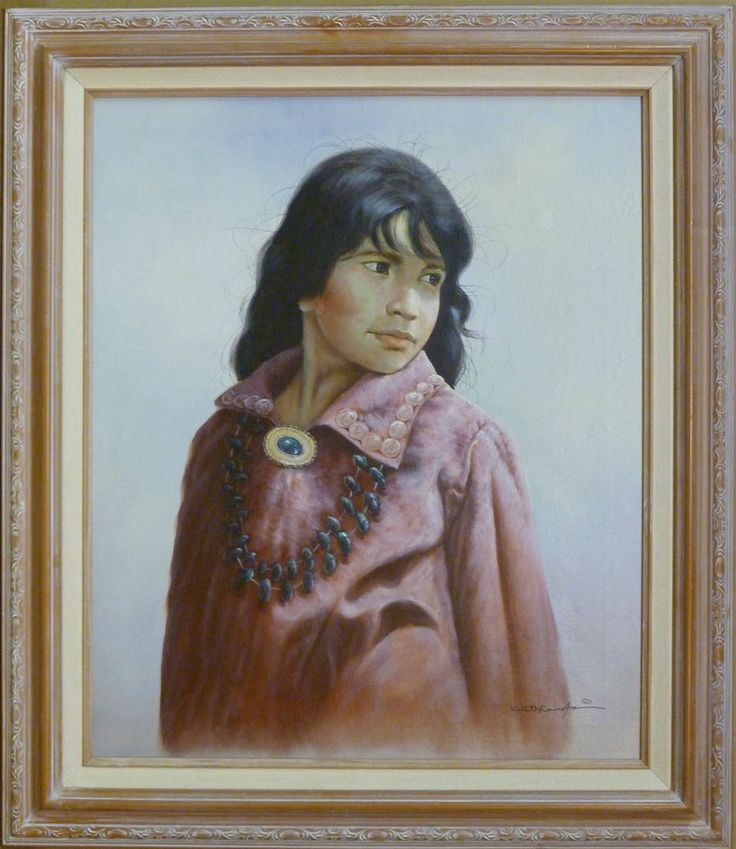Pink Girl Southwest Native 20X24 Realistic Portrait Oil Painting American Frame #Realism