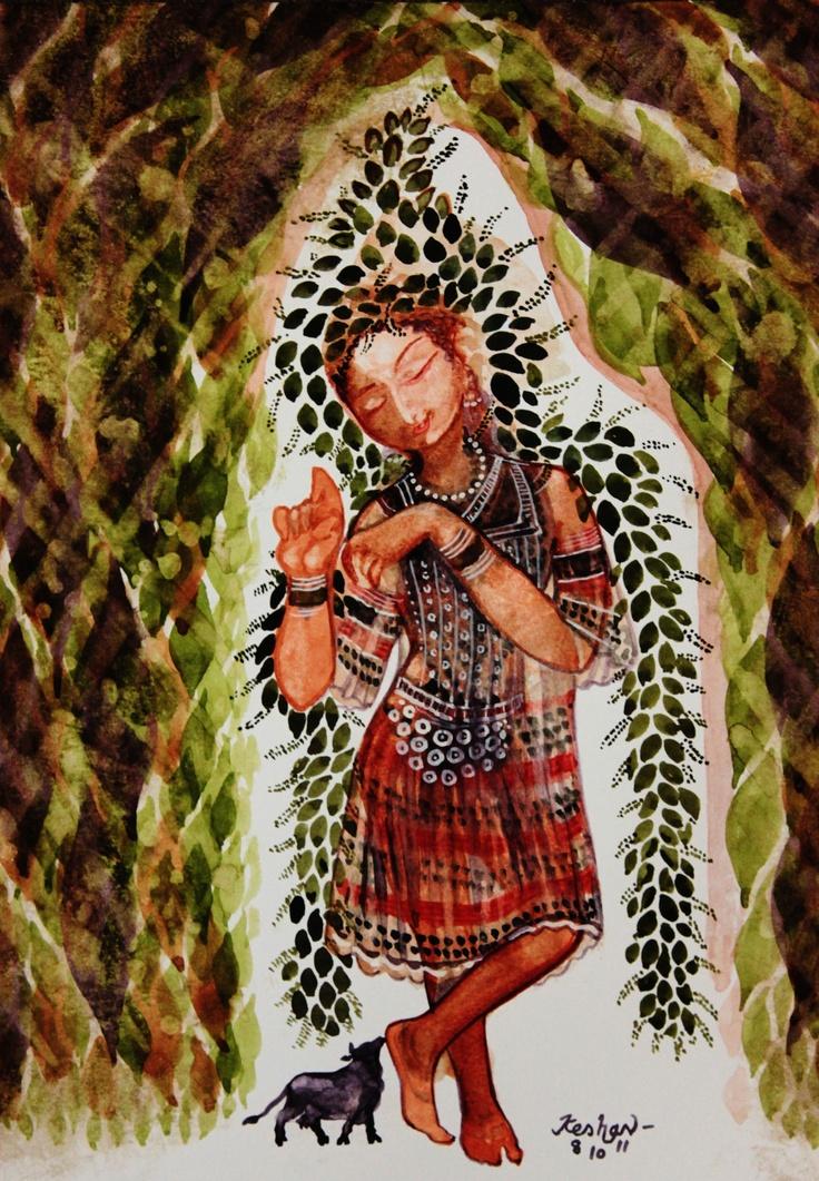 Krishna for today. 'vandè tulasi priyam...' Watercolour.