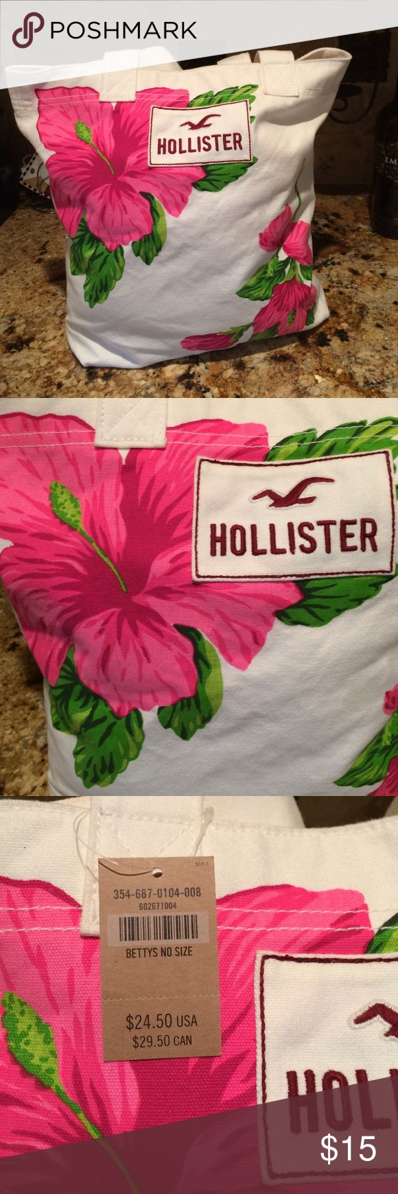 New with tags. Cute hollister tote bag New  Hollister tote bag . Very cute. Has one pocket inside. Classic tote bag design. Great for beach. Or school book's etc. Hollister Bags Totes