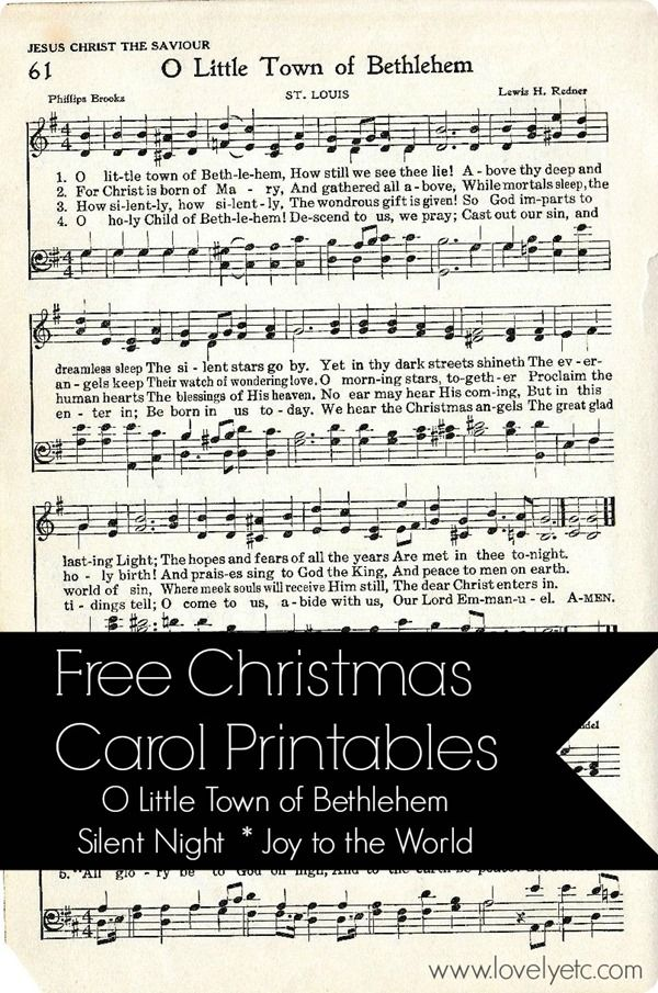 Free Christmas Carol Printables taken from a vintage hymnal. Silent Night. Joy to the World. O Little Town of Bethlehem.