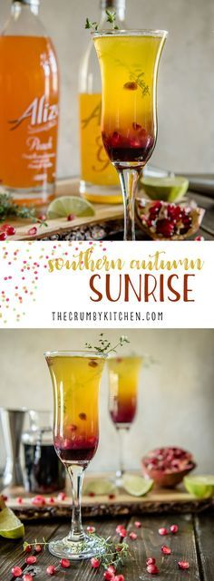 Passion fruit, pineapple, and pomegranate make this fiery Southern Autumn Sunrise Cocktail as welcome on a cool day as it is on a hot day! #partner #alizeincolor #cocktail #recipe #passionfruit #pineapple #grenadine #vodka #drink #vodkasunrise #pomegranate