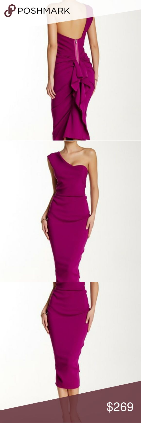 NWT Issue NY magenta dress Brand new with tags off the shoulder magenta (fushia) dress with a ruffled back. Issue New York Dresses Midi