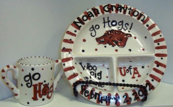 University+of+Arkansas+Razorback+Baby+Plate+and+by+melaniehewins,+$29.50