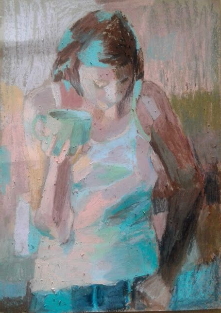 Mujer tomando café - pasteles al óleo / oil pastels