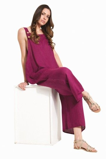b3ae2eac846 Ladies Lightweight Loose Fit Linen Dungarees - Plum.  festivalfashion