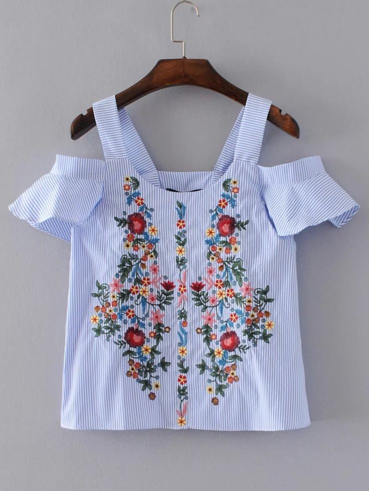 Blusa túnica de rayas verticales con bordado -Spanish Romwe Sitio Móvil