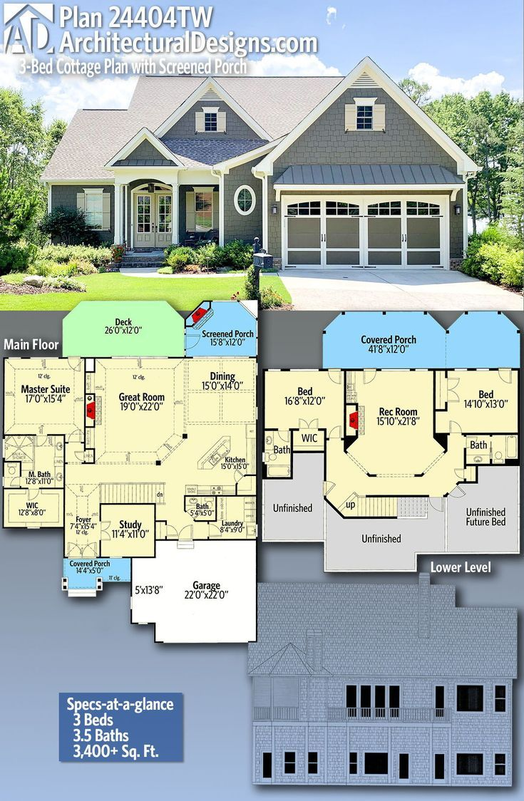 Plan 24404tw 3 Bed Cottage Plan With Screened Porch House Plans Cottage Plan Craftsman House Plan