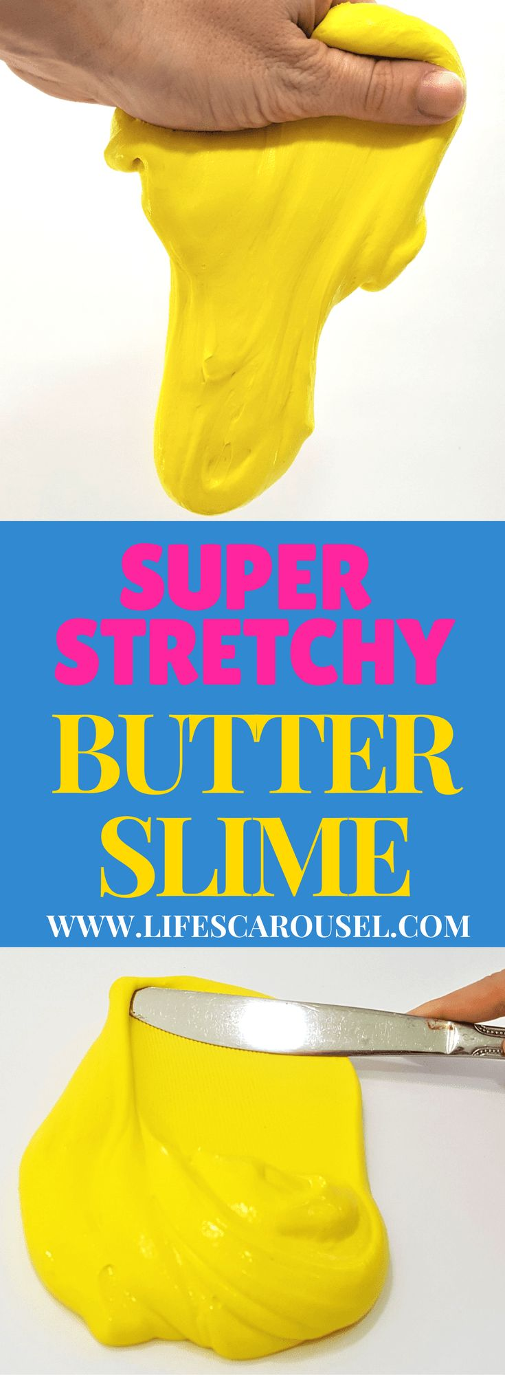 BUTTER SLIME | Super Smooth & Stretchy Butter Slime. This is the softest, smoothest and stretchiest slime EVER! Easy to make, no mess slime! Great kids craft or activity that everyone will enjoy! Perfect for birthday parties, classroom activity, STEM project and more!