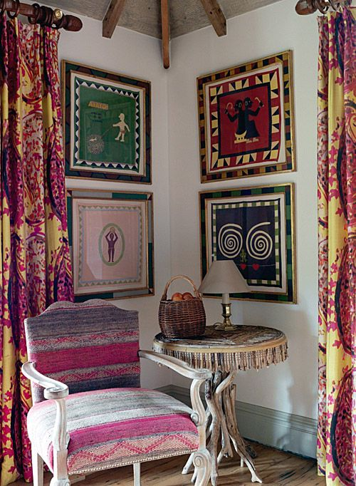 Kit Kemp - A Living Space (I have a corner like this in my new apartment!  The placement of art is lovely!!!
