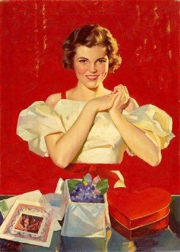 Image result for vintage valentine color pin ups