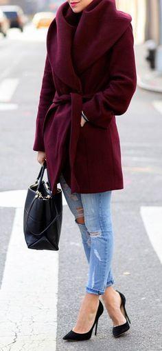 #street #style fall / burgundy coat